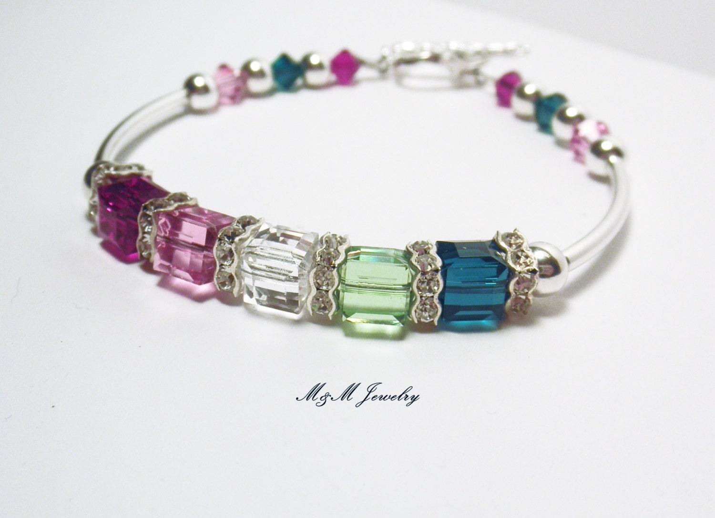 personalized mothers birthstone bracelet by