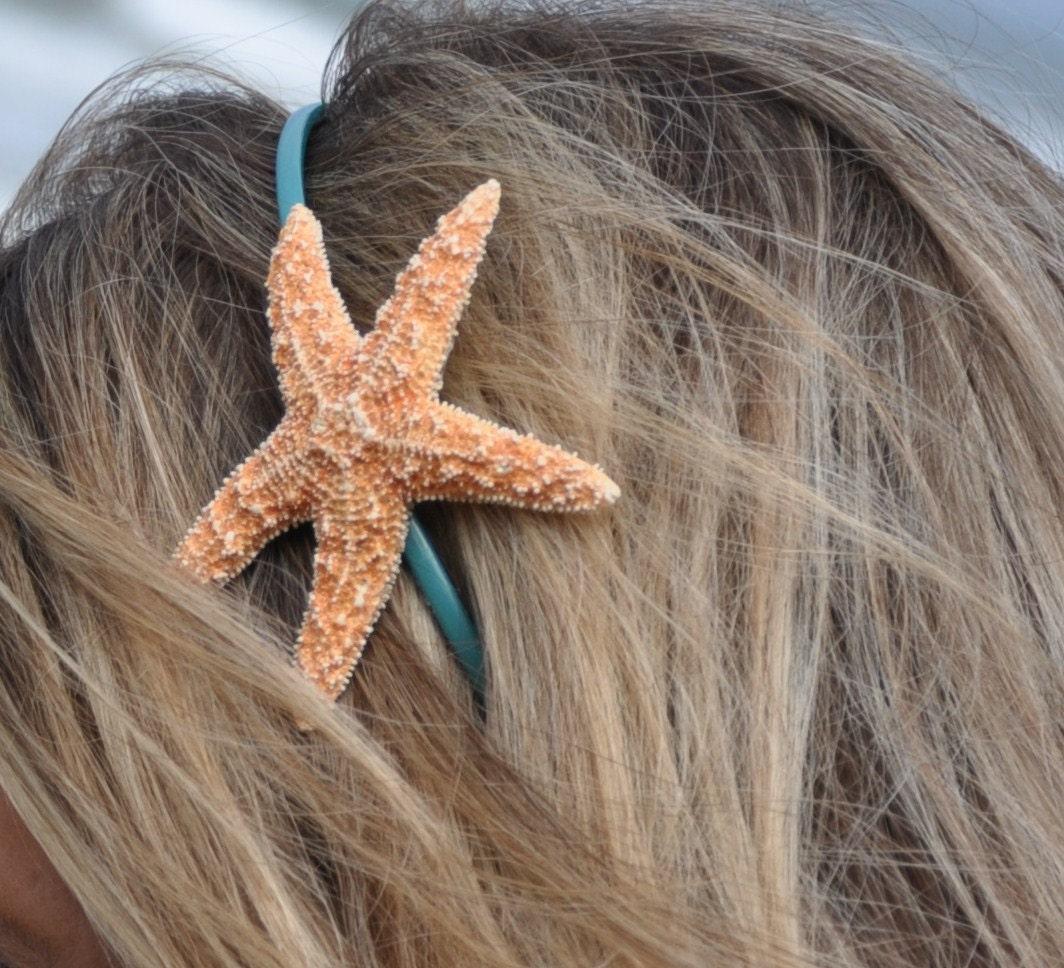 Sugar Starfish on aqua teal turquoise headband Mermaid Hair