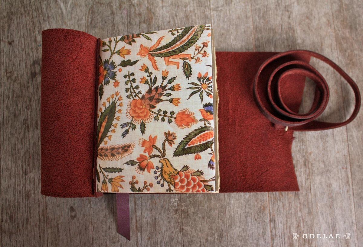 Old World Rose. Leather Journal - Handstitched - Natural - Floral - Garden - odelae