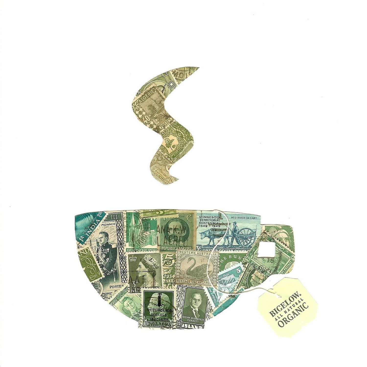Green Tea Postage Stamp Collage with Bigelow Organic Tea Tag