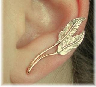 Feather Ear Pin - Sterling Silver and Gold Filled - PAIR - ChapmanJewelry