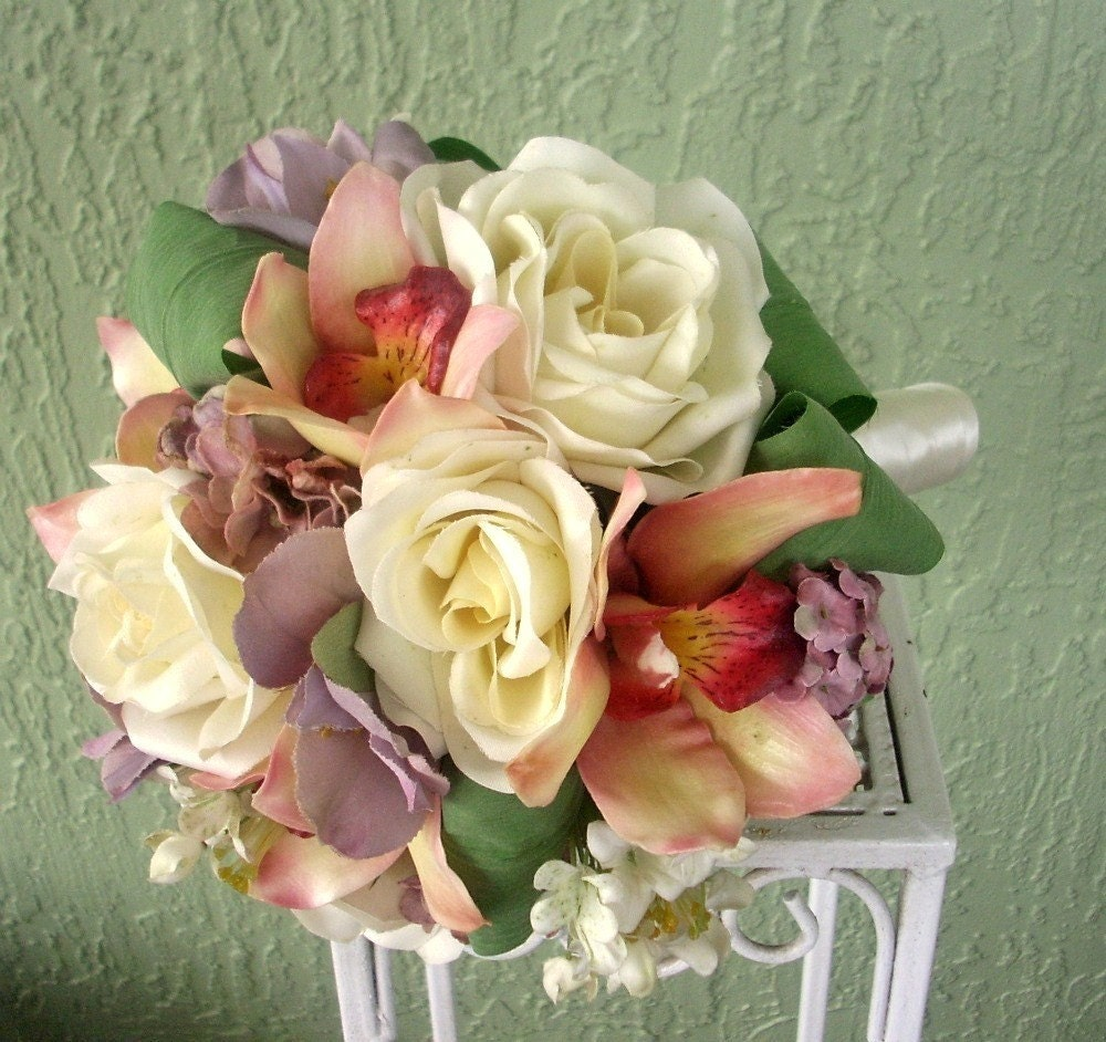 Sincere Silk Rose, Cymbidium Orchid, Alstroemeria Lily and Lilac Flower Bridal Bouquet and Groom's Boutonniere