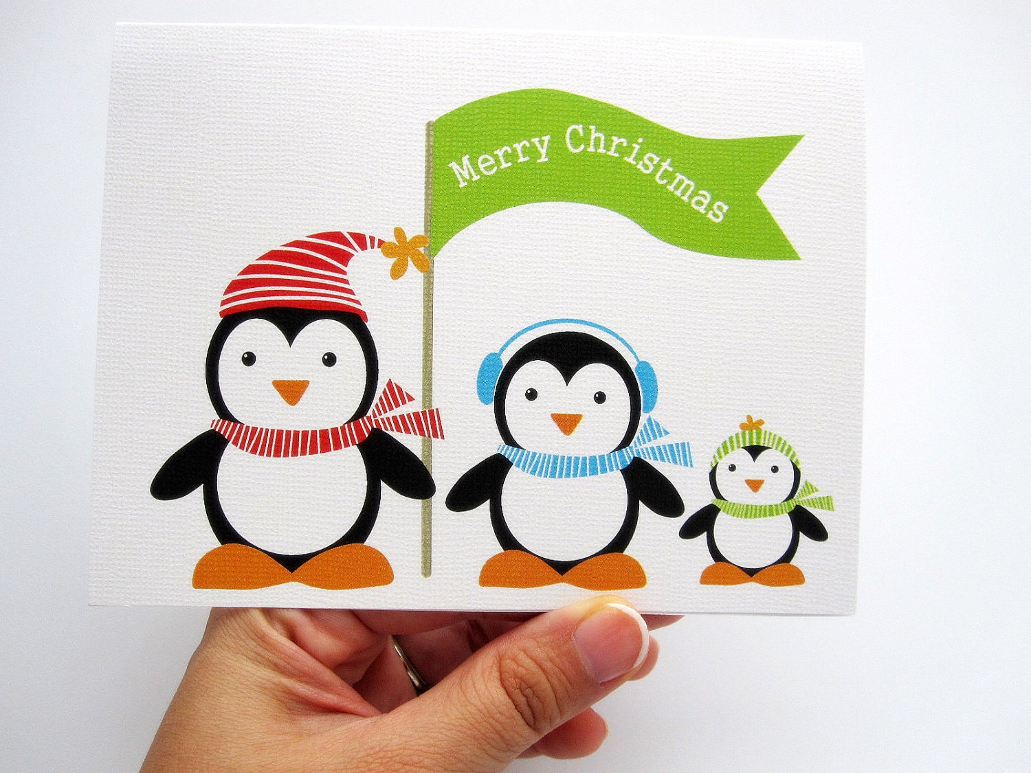 MOVING SALE 6 Penguin Christmas Cards - Set of 6 Adorable Penguin Christmas Cards