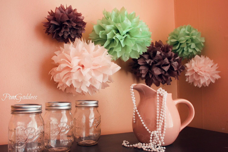 12 tissue pom poms wedding decorations baby by pomgoddess. Black Bedroom Furniture Sets. Home Design Ideas