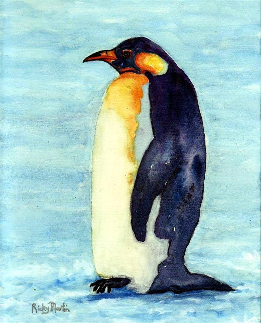 Emperor Penguin, Antarctica, Wild Life,Nursery, Boy's, Girl's Room Decor - FREE SHIPPING - Original Watercolor  by ebsq Artist Ricky Martin - RickyArtGallery