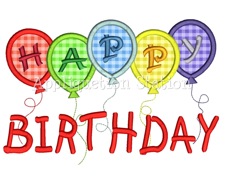 Happy birthday balloons applique machine by