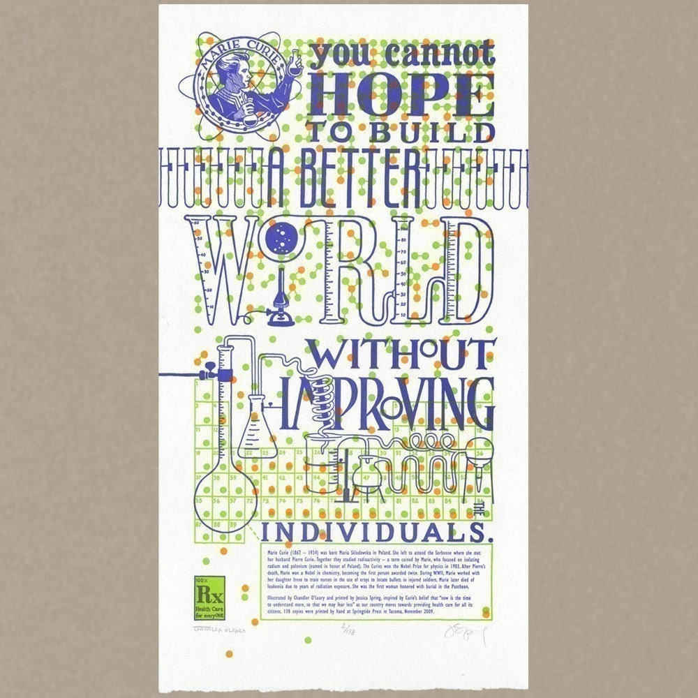 THE CURIE CURE original Dead Feminists letterpress poster featuring quote by Marie Curie