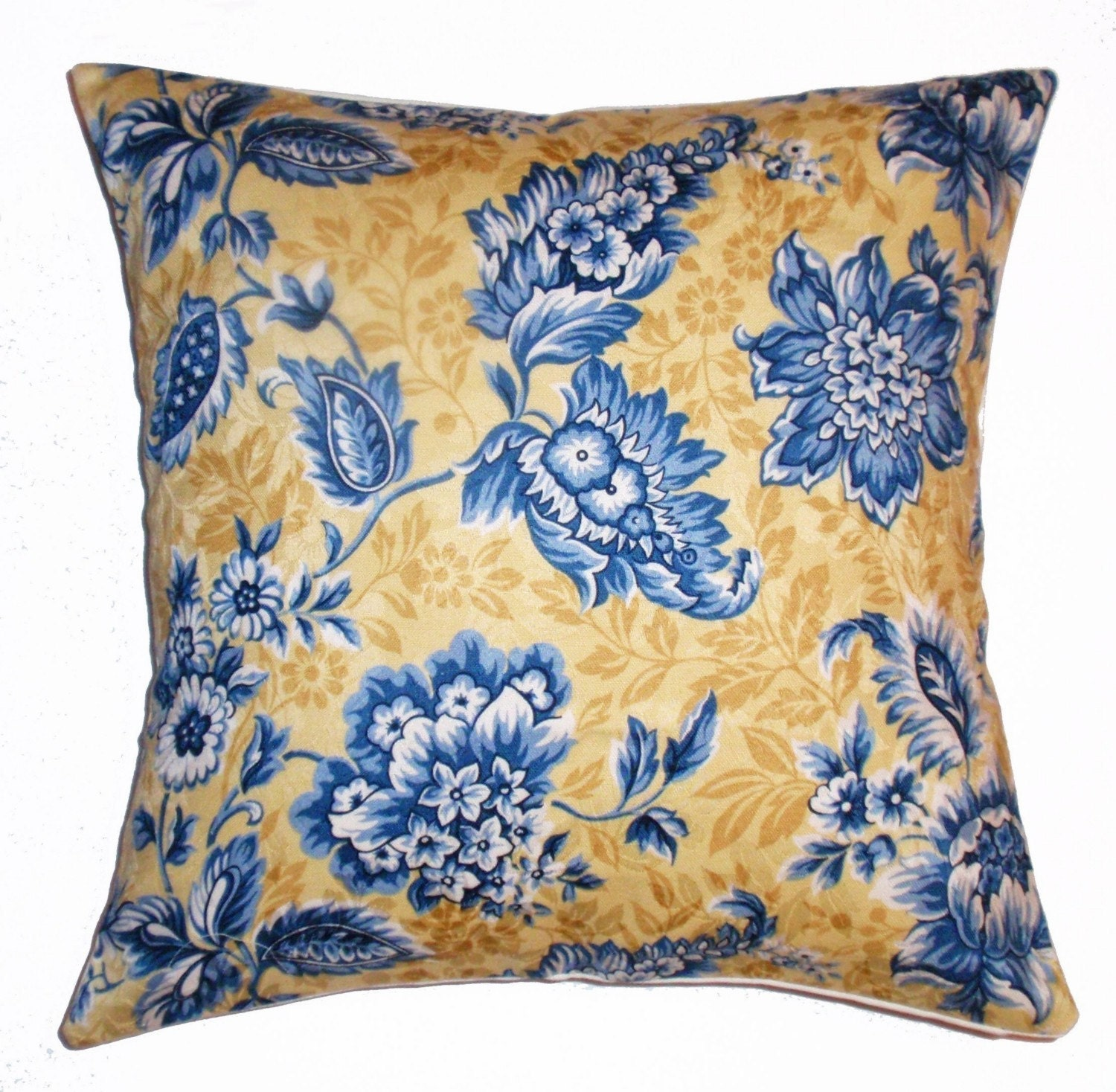 Country Blue Throw Pillows : Throw Pillow Cover 16x16 French Country Floral by PersnicketyHome
