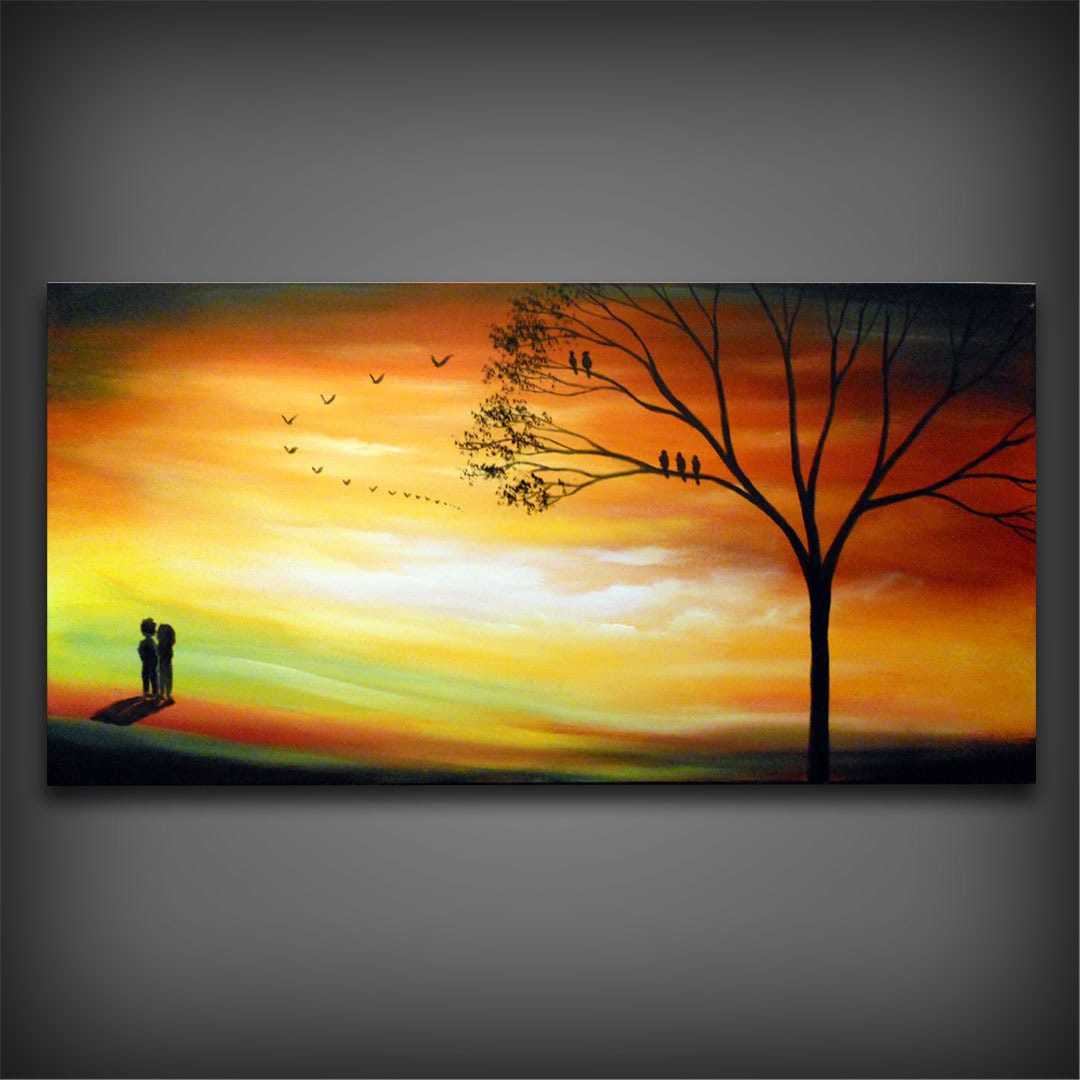 autumn fall orange landscape painting large acrylic by mattsart. Black Bedroom Furniture Sets. Home Design Ideas