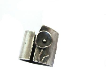Band ring flower,oxidized handmade modern - ZizouArT