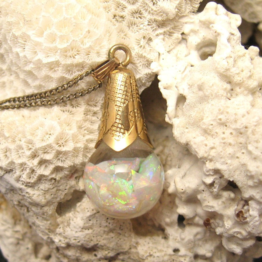 Vintage Floating Opal Pendant Necklace Large By