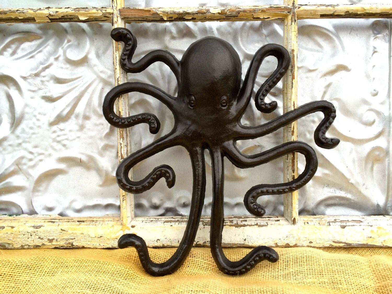 Items similar to coat hook octopus animal wall hook jewelry organizer oil rubbed bronze bath - Octopus coat hook ...