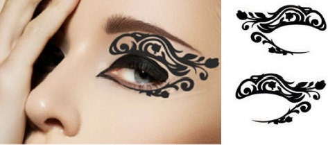 1 Pair of Temporary Tattoo for Eyes Eyelids Black Color Rose FLower Laced Shape - cclstore