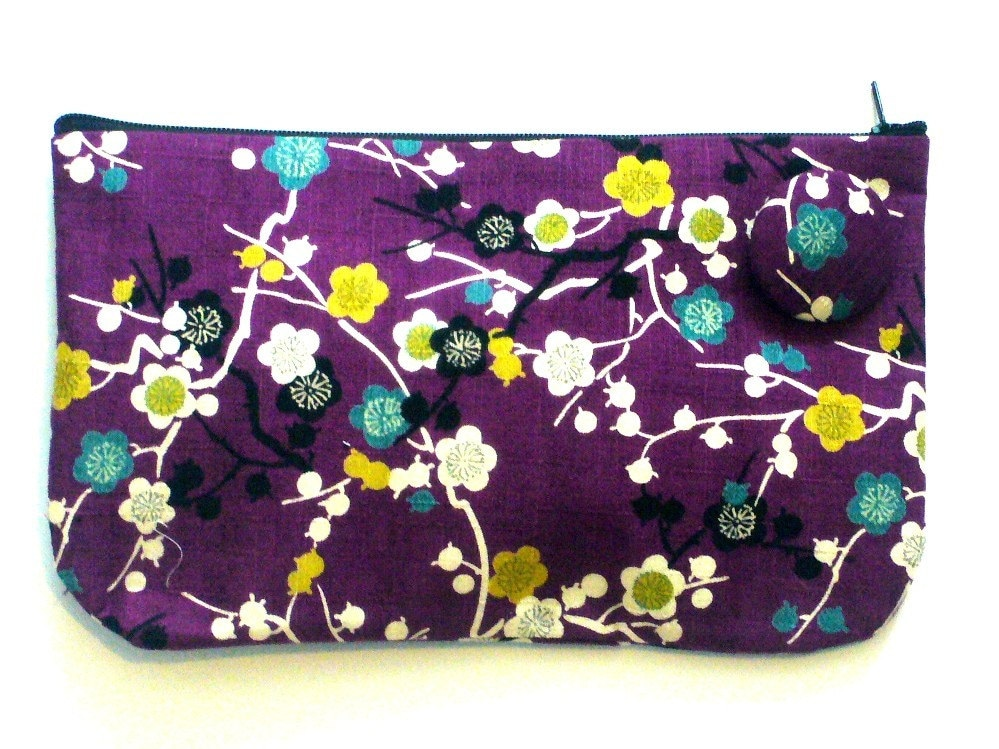 Purple ume clutch purse