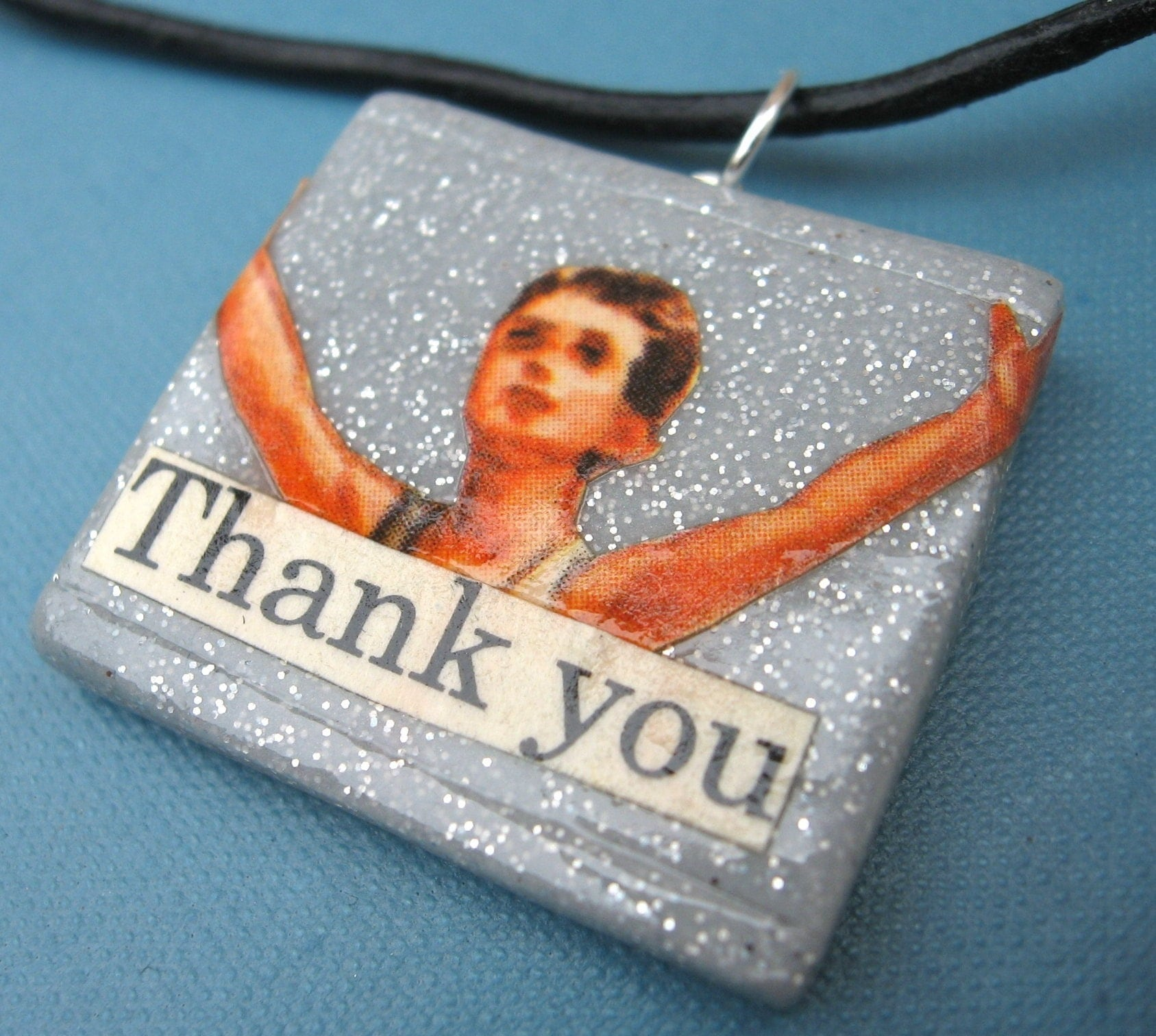 Thank you pendant (on leather cord)