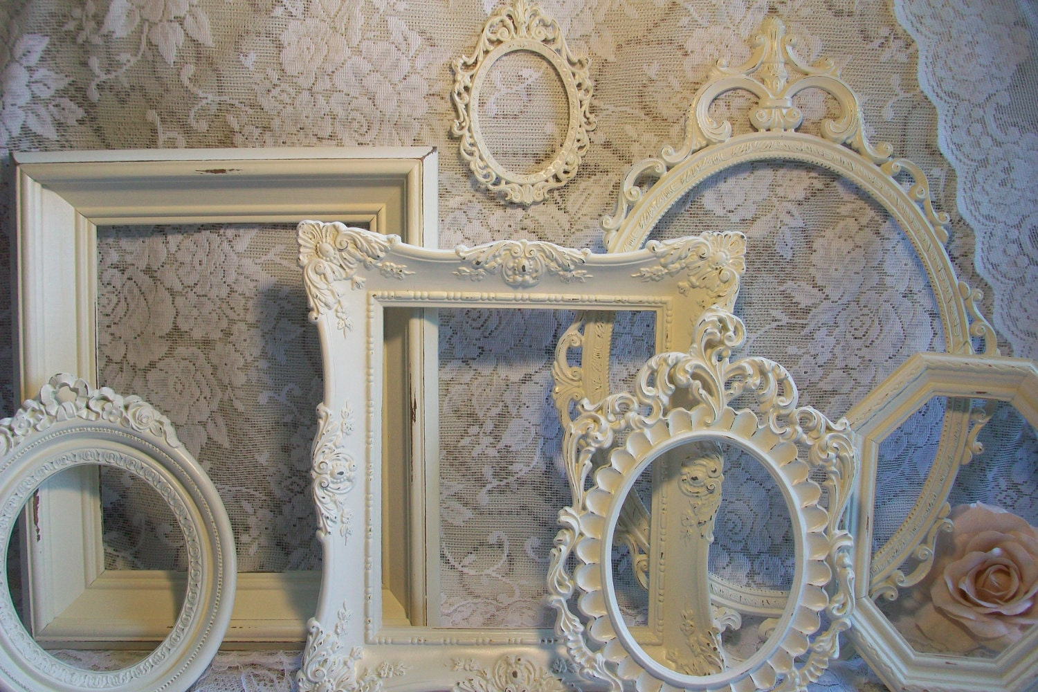 shabby chic frames white frames vintage picture by. Black Bedroom Furniture Sets. Home Design Ideas