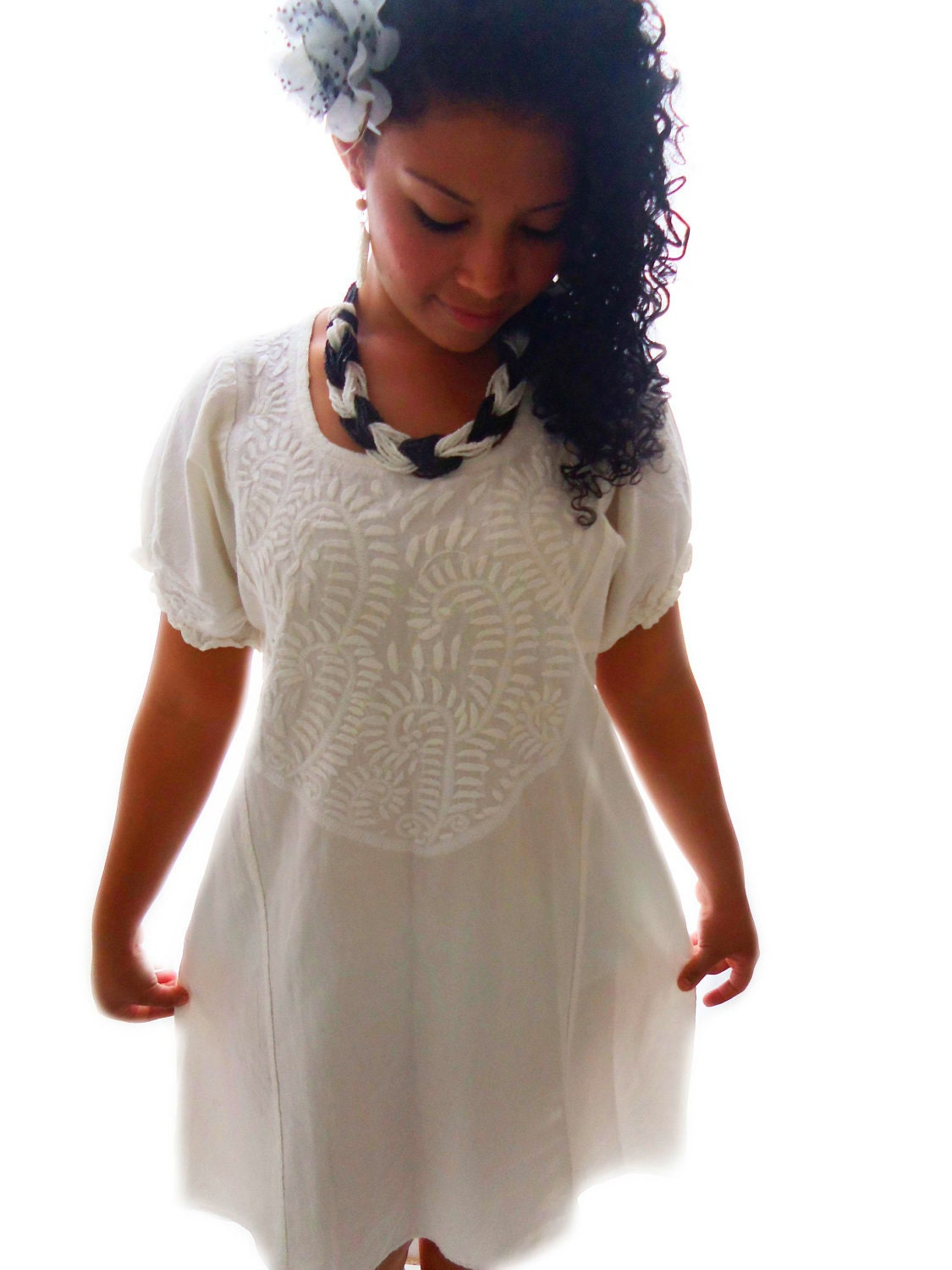 Angelita mexican embroidered tunic dress by elizabethpalmer