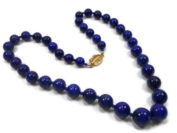 1970's Vintage Lapis Lazuli Necklace - FromMyHeartVintage