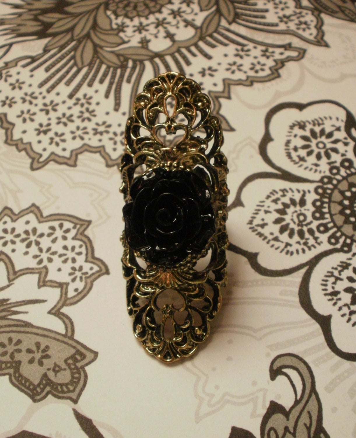 Gothic Style Black Rose Ring THE QUEEN of the NIGHT