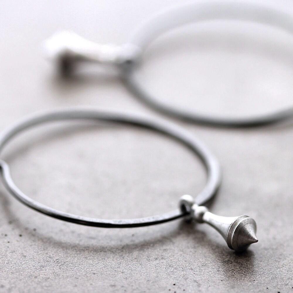 Hoop Earrings, Silver Pendulum Oxidized Sterling Silver Hoops - Clockwork - GlitzGlitter