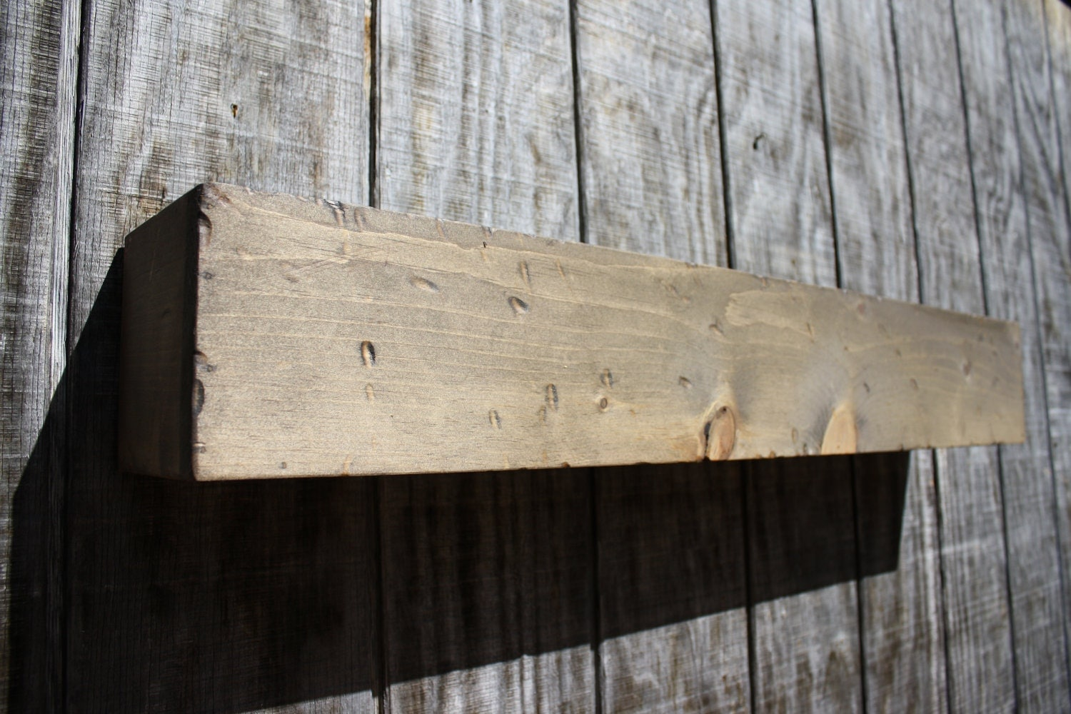 reclaimed barn wood style floating shelf by rayscustomwoodwork. Black Bedroom Furniture Sets. Home Design Ideas