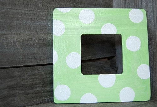 Mint Julep Polka Dot Frame Hand-painted