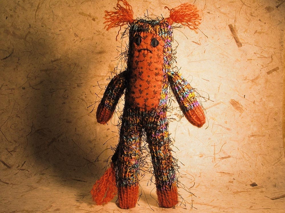 Rainbow and Orange Hairy Knit Monster
