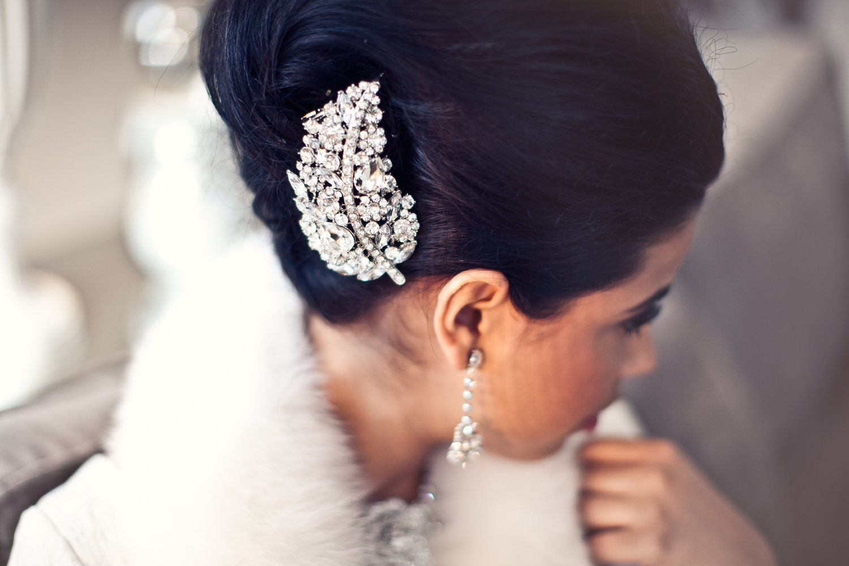 Rhinestone Bridal Hair Brooch, Wedding Hair Accessory, Large Rhinestone Haircomb