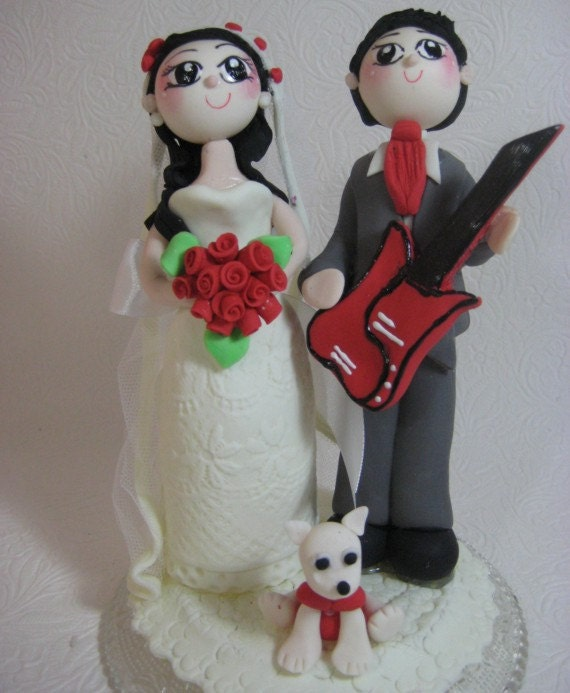 Custom Wedding Cake Topper Guitar Player Groom By CuteToppers