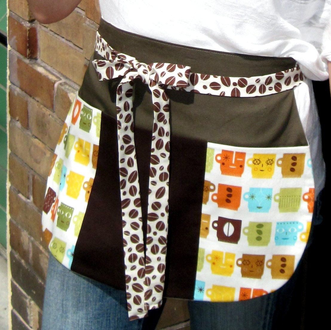 New Item, Coffee Cup Utility Apron for Cafe Servers, Baristas and Coffee Lovers in Avocado, Orange and Brown