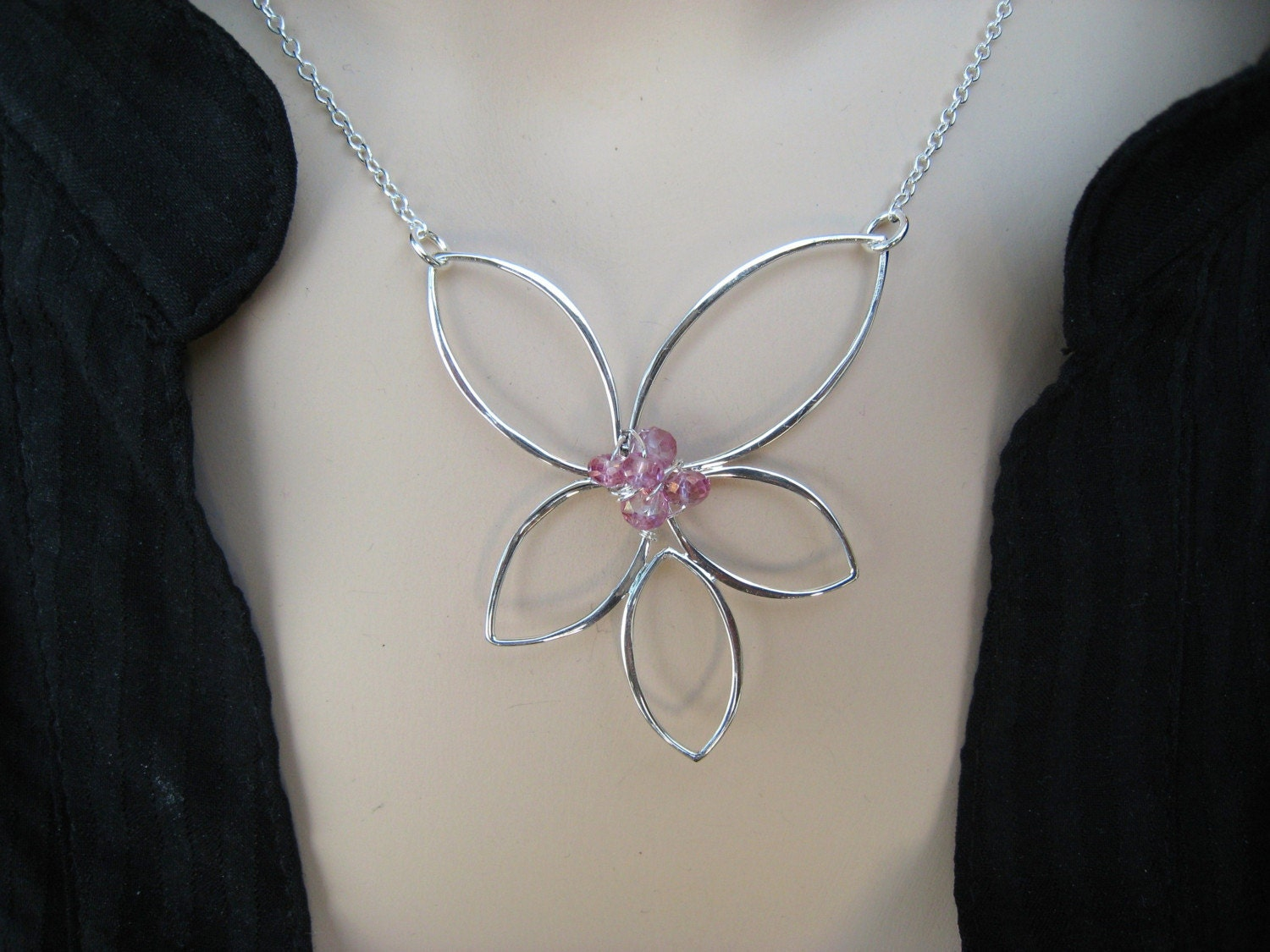 Large Free Form Sterling Silver Lotus Flower Pendant Necklace with Pink Topaz Rondelles