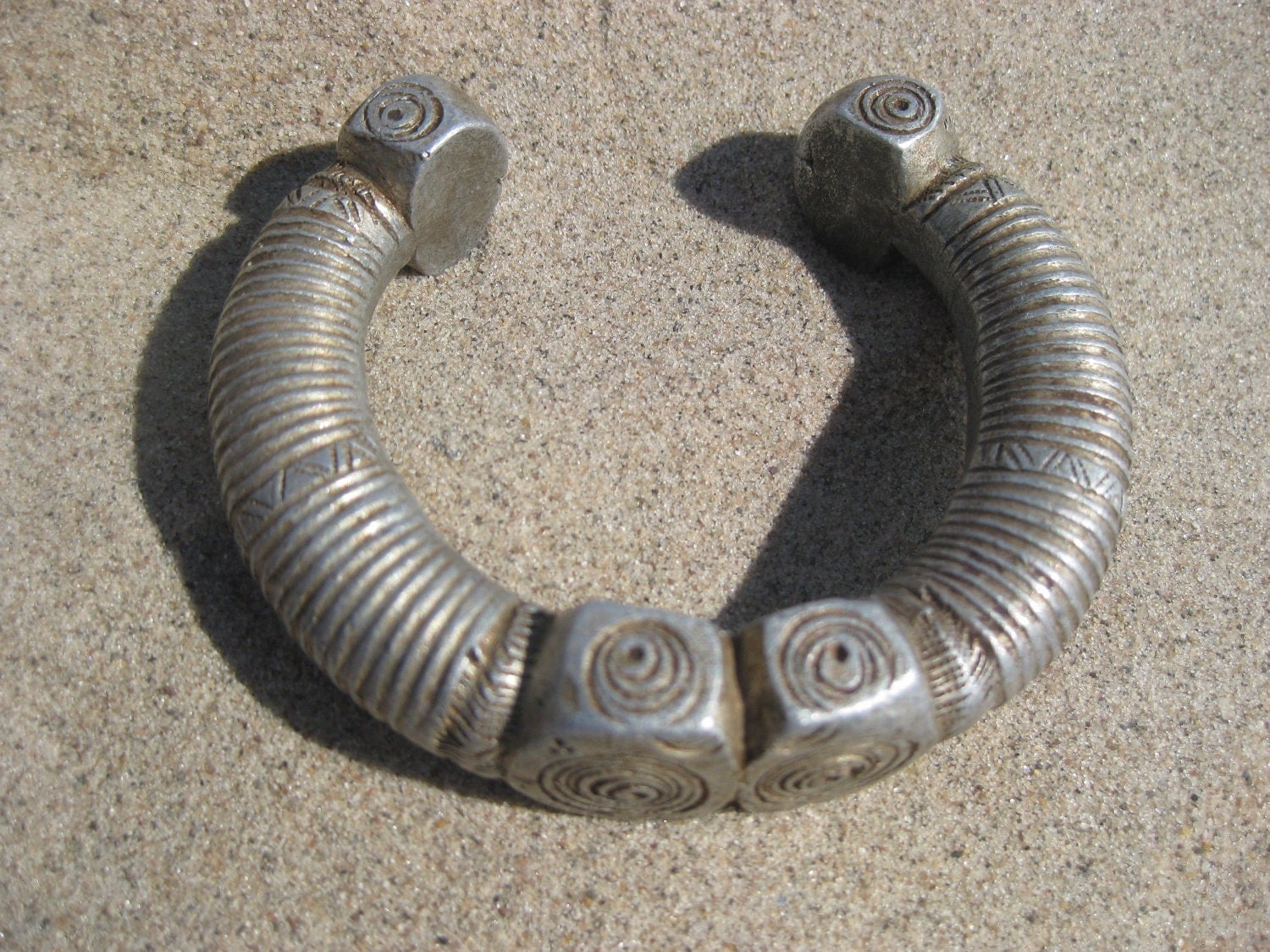Old Chunky Tribal Etched Silver Bracelet - SALE