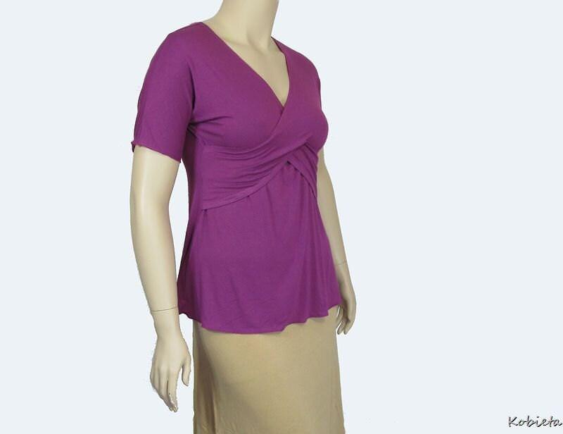 *Kobieta SALE* Womens Dual Crossover Shirt-Purple/Berry/Fuchsia-Sz 12/14/16
