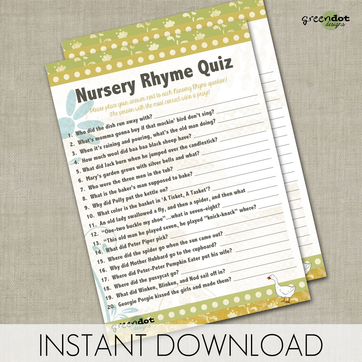 instant download nursery rhyme quiz baby shower by greendotdesigns