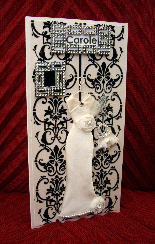 Carole Personalised Art Deco Dress Card / Handmade Greeting Card