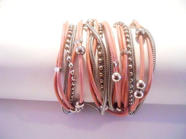 Antique pink round leather & nickel chains and beads, 3X wrap bracelet - Annikaloveforwraps