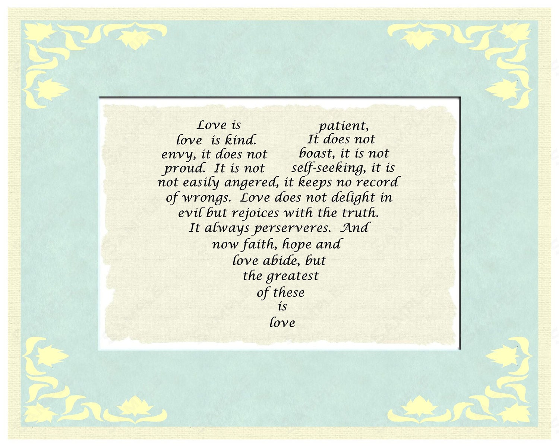 Love is Patient Love Is Kind Wedding Poem Jesus Corinthians