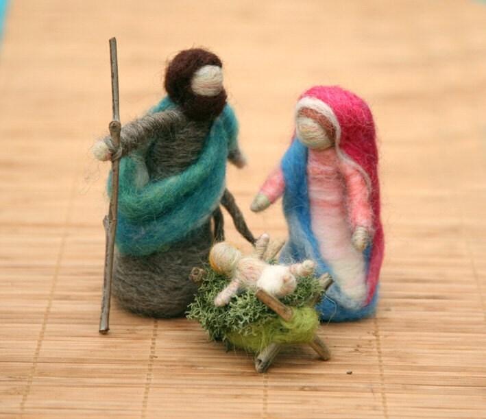 Desigrans ideas needle felted nativity set made to order - Needle felting design ideas ...