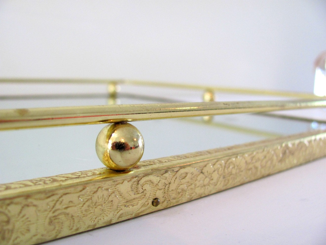Vintage mirror vanity tray with gold floral frame