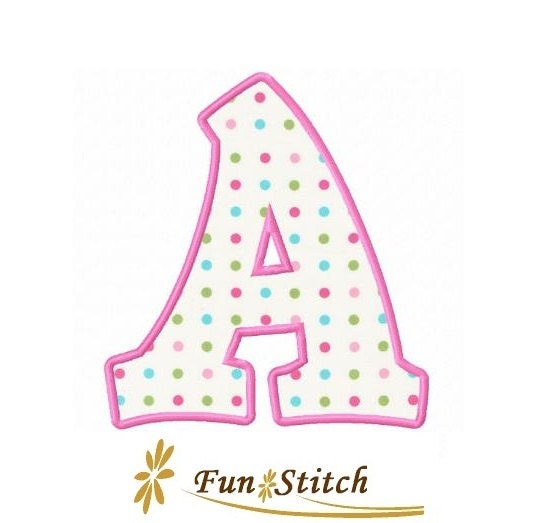 Set of applique letters machine embroidery design by