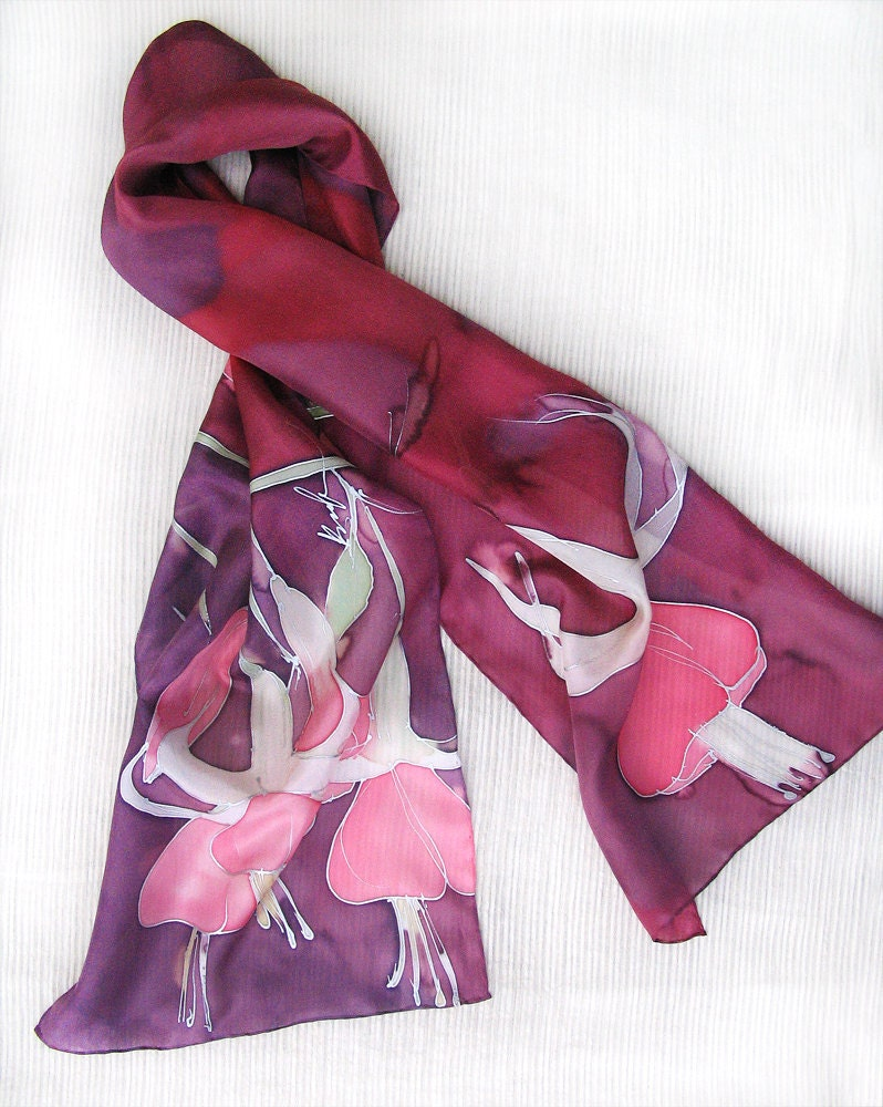 Hand painted silk scarf  Magenta's flowers FREE SHIPPING