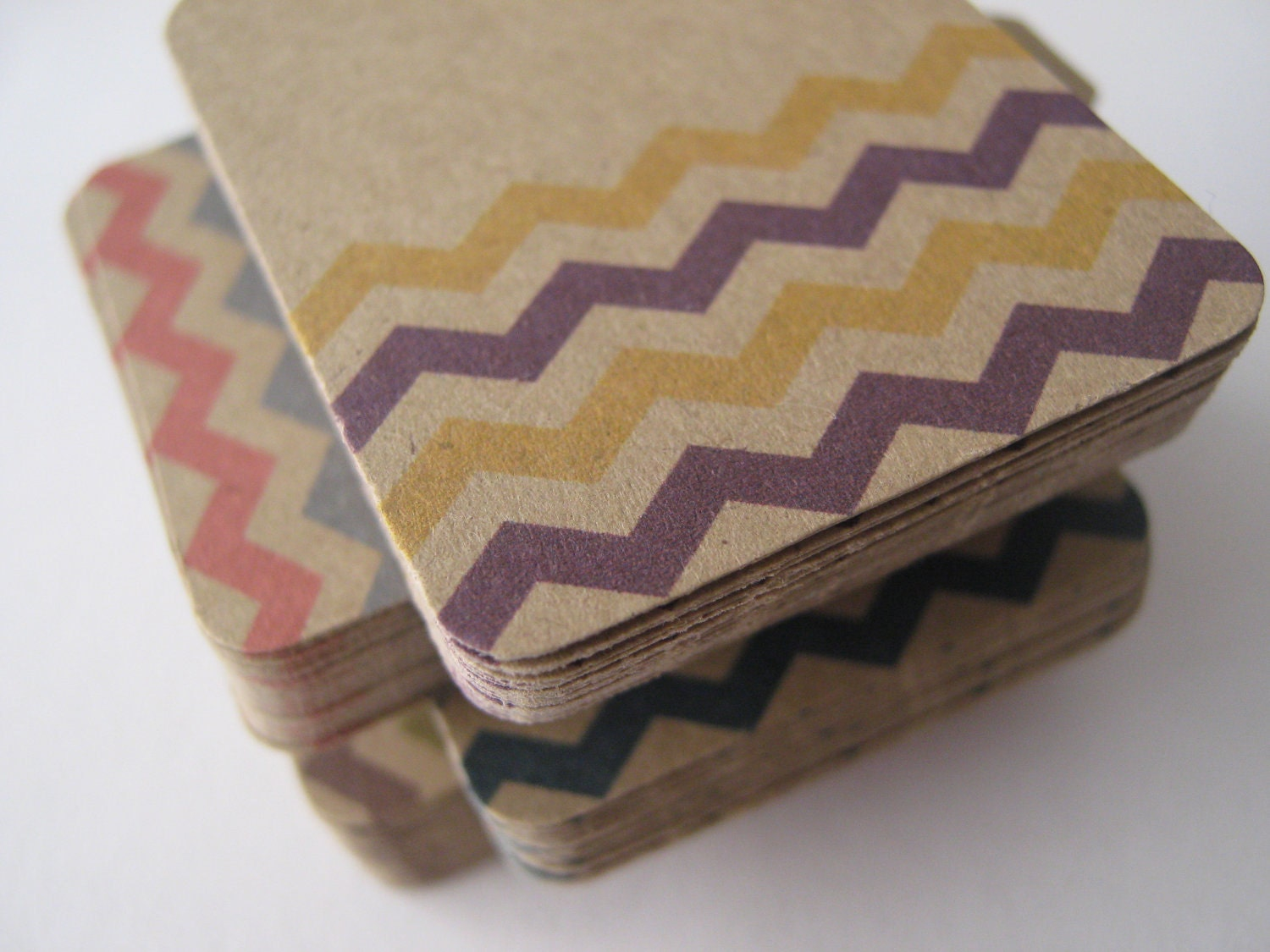 Kraft Brown Chevron Retail Swing Tags Spring 2012 Pantone Colors - Set of 50