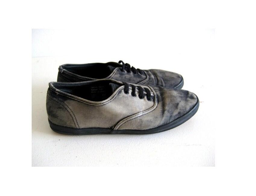 s vintage canvas shoes black lace up tennis by