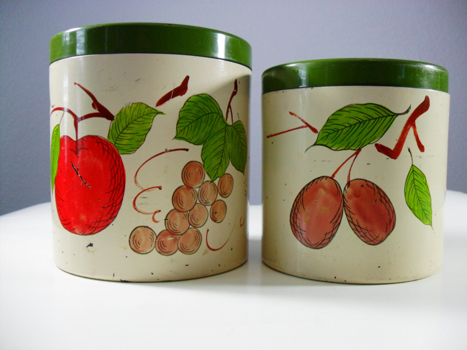 Vintage kitchen canisters rustic kitchen decor by - Green apple kitchen decor ...