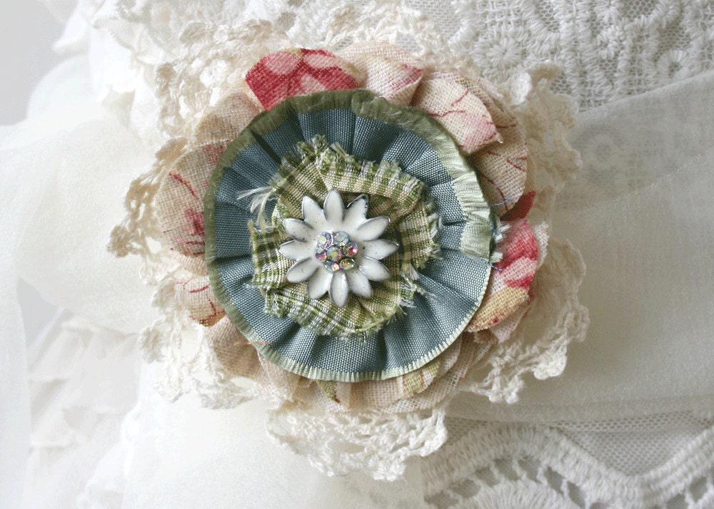 Shabby Chic Flower Pin Brooch