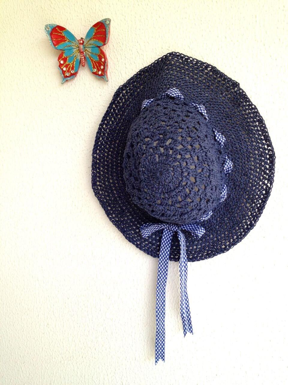 Adjustable Crocheted natural raffia Dark Blue navy Indigo Summer Sun Hat With White navy plaid Ribbon - cookieletta