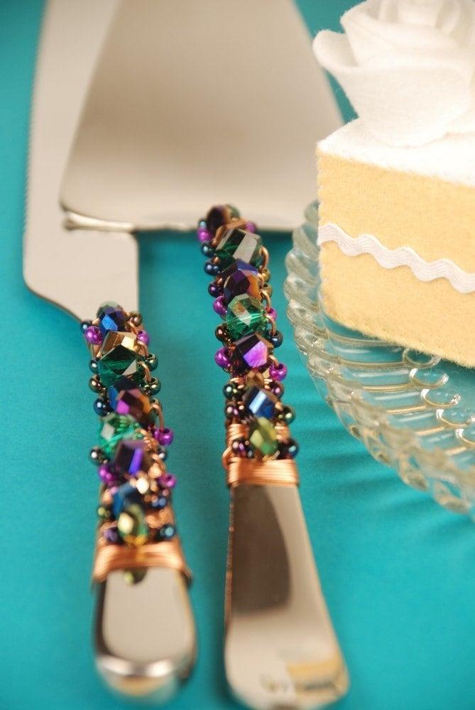 Autumn Wedding Cake Knife And Server