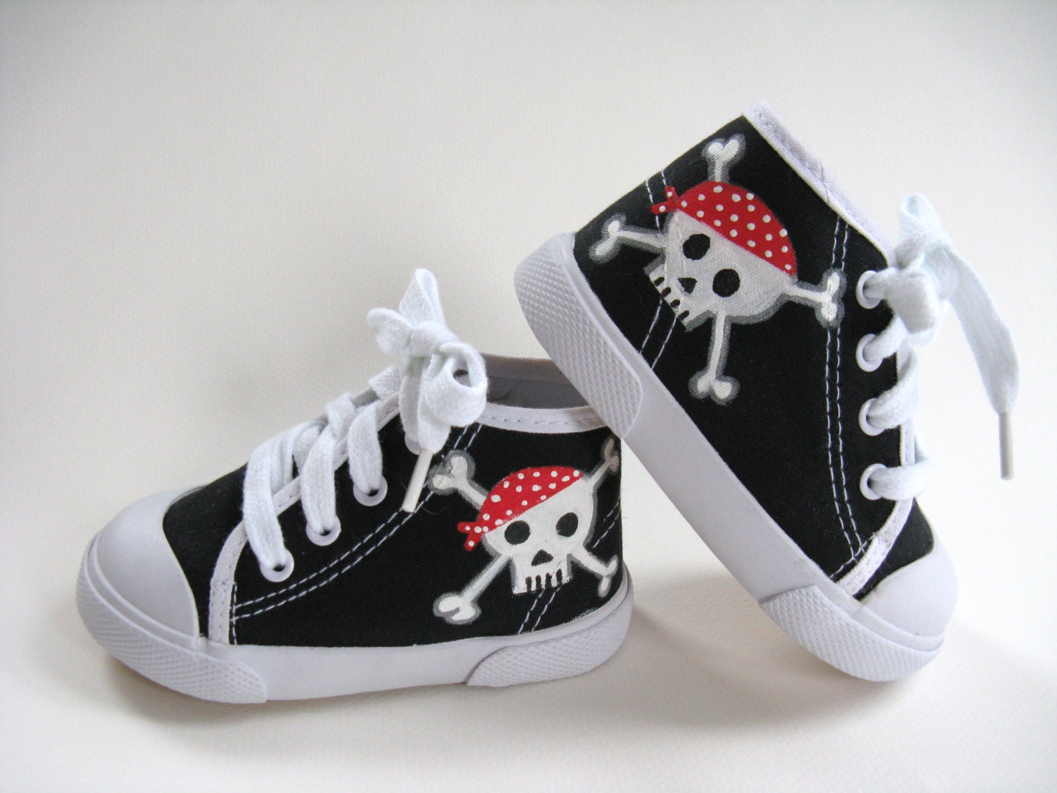Boys Pirate Shoes, Baby and Toddler, Skull and Crossbones, Hand Painted, Black Hi Top Sneakers - boygirlboygirldesign