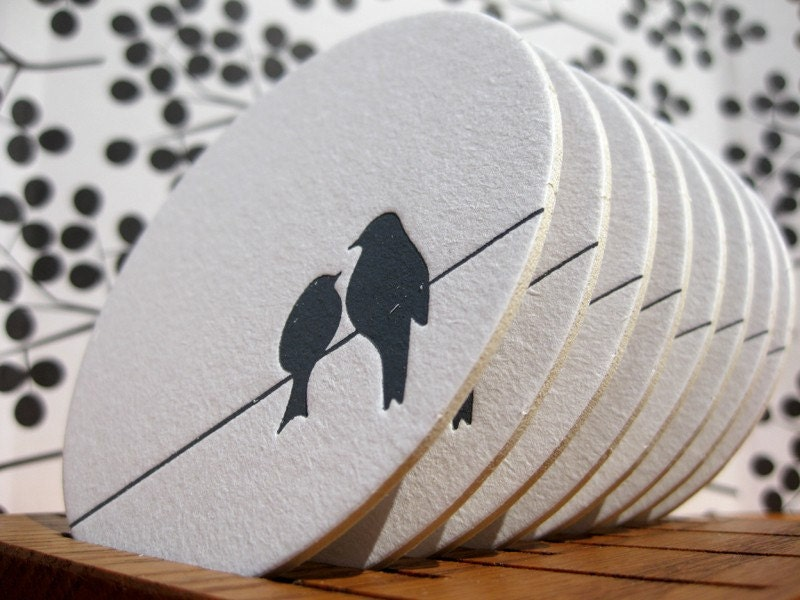 BLACK FRIDAY SALE Love Birds on a High Wire - Letterpressed Paper Coasters