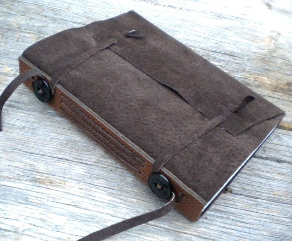 Brown Suede Leather Diary - Replica Medieval Limp Leather Book Structure